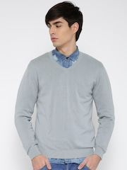 Wills Lifestyle Men Grey Solid Sweater