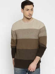 Wills Lifestyle Men Brown Colourblocked Sweater