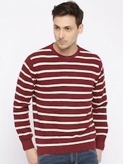 Wills Lifestyle Maroon & Off-White Striped Sweater