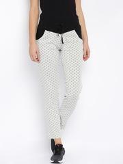 SDL by Sweet Dreams White & Black Floral Print Track Pants