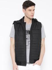 Monte Carlo Black Sleeveless Bomber Jacket with Detachable Hood