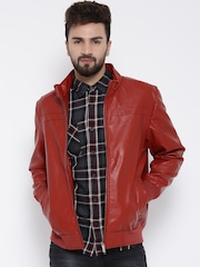 Monte Carlo Rust Red Faux Leather Biker Jacket