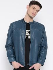 Monte Carlo Blue Faux Leather Biker Jacket