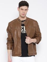 Monte Carlo Brown Faux Leather Biker Jacket