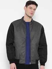 Monte Carlo Charcoal Grey & Black Patterned Bomber Jacket