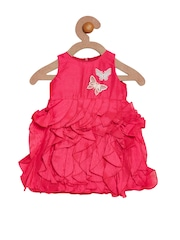 A Little Fable Girls Pink Self-Design A-Line Dress