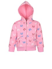 StyleStone Girls Pink Printed Hooded Jacket