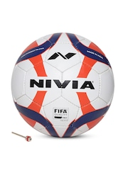 NIVIA Unisex White & Orange Antrix Printed Football