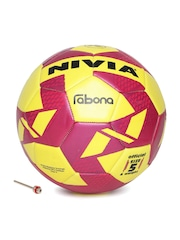 NIVIA Unisex Magenta & Yellow Rabona Printed Football
