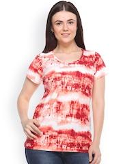 plusS Women Orange & White Printed Round Neck T-shirt