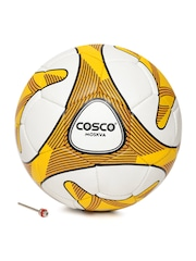 COSCO Unisex White & Yellow Moskva Printed Handsewn Football