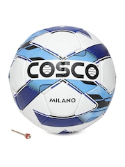 COSCO Unisex White & Blue Milano Printed Handsewn Football