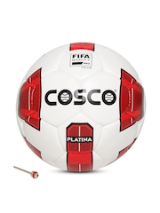 COSCO Unisex White & Red Platina Printed Handsewn Football
