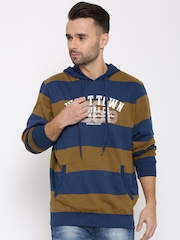 Monte Carlo Olive Brown Striped Hooded Sweatshirt