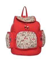 Impulse Unisex Red & Beige Printed Backpack