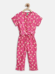 United Colors of Benetton Girls Pink Belted Printed Jumpsuit