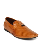 San Frissco Men Tan Perforated Tassel Loafers