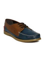 Knotty Derby Men Navy & Brown Colourblocked Derbys