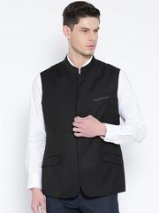 Wills Lifestyle Black Patterned Slim Fit Nehru Jacket