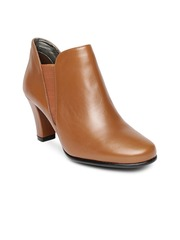 Aerosoles Women Brown Solid Leather Heeled Boots