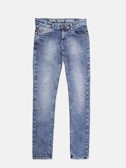 Pepe Jeans Boys Blue Cashed Slim Fit Mid-Rise Clean Look Jeans