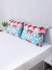 House This Set of 2 Blue & Maroon Printed 18 x 27 Rectangular Pillow Covers