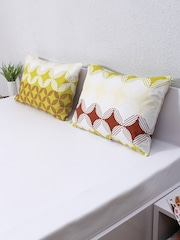 House This Set of 2 Green & Maroon Printed 18 x 27 Rectangular Pillow Covers