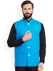 even Blue Linen Nehru Jacket