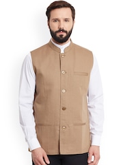 even Beige Linen Nehru Jacket