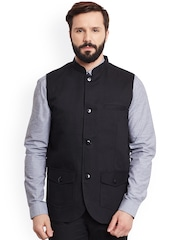 even Black Linen Nehru Jacket