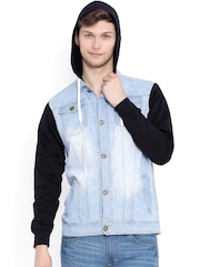 Campus Sutra Blue & Black Hooded Denim Jacket
