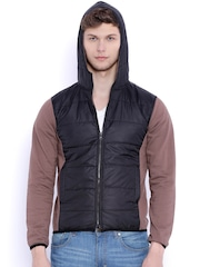 Campus Sutra Black & Brown Colourblocked Hooded Jacket