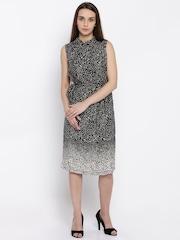 Park Avenue Women Black Printed Sheath Dress