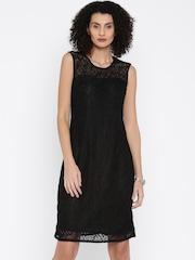 Park Avenue Women Black Lace Sheath Dress