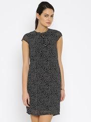 Park Avenue Woman Women Black Printed Sheath Dress