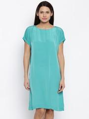Park Avenue Women Turquoise Blue Solid A-Line Dress