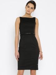 Park Avenue Woman Black Self-Design Sheath Dress