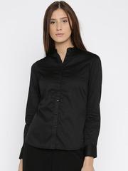 Park Avenue Women Black Solid Casual Shirt