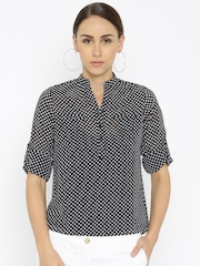 Park Avenue Women Black & White Printed Top