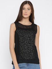 Park Avenue Women Black Printed Top