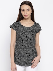 Park Avenue Women Black & White Printed Top