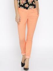 Park Avenue Women Orange Solid Regular Fit Flat-Front Trousers