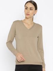 Park Avenue Women Beige Solid V-Neck T-Shirt