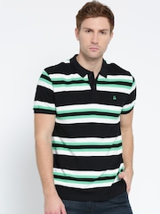 United Colors of Benetton Men Black Striped Polo Collar T-shirt
