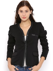 Campus Sutra Black Tailored Jacket