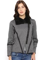 Campus Sutra Charcoal Grey & Black Tailored Jacket