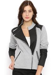 Campus Sutra Grey & Black Colourblocked Tailored Jacket
