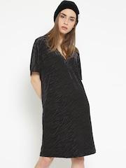 MANGO Women Black Self-Design Shift Dress