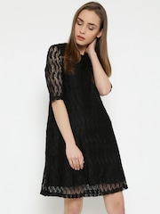 MANGO Women Black Lace A-Line Dress