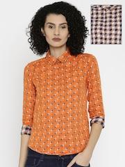 Wrangler Women Orange & Navy Reversible Shirt